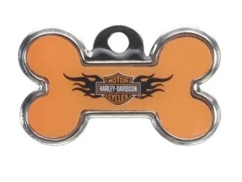 Harley Orange Bone ID Tag