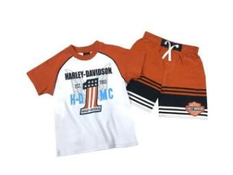 Harley-Davidson® Kinder Badehose und wahlweise Kurzarm-T-Shirt