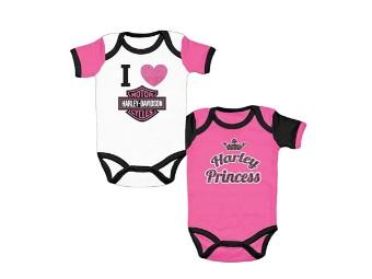 Girls Baby Love Harley und Harley Princess Twin Pack Rib Creeper