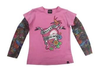 Glitzerndes T-Shirt für kleine Mädchen mit Mesh-Tattoo-Ärmeln