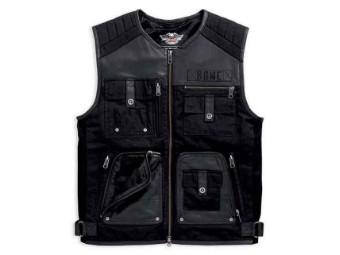Herren Weste Leather & Textile Multi-Pocketed