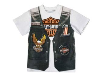 Bedruckte Motorradweste für kleine Jungen Kurzarm-T-Shirt