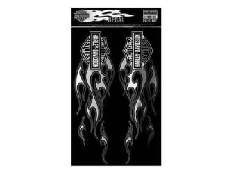 Chrom Flaming Bar & Shield Logo Aufkleber