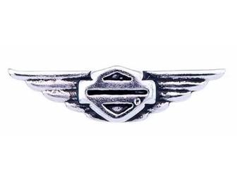 Harley-Davidson® Damen Winged B & S Silber Medaillon Charm