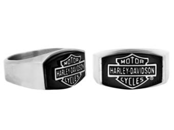 Men's Bar & Shield Logo Black Steel Stone Ring