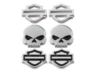 Harley-Davidson® Damen Bar & Shield / Skull Ohrstecker Set - 3er Set