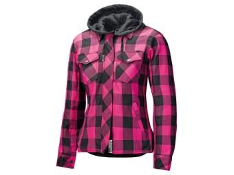 Motorradjacke Held Flanellhemd Lumberjack II Lady schwarz pink