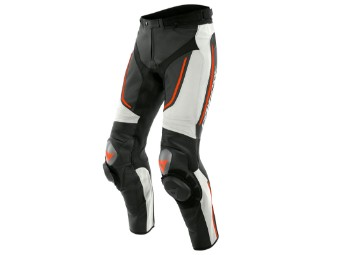 Motorradhose Dainese Alpha Perforated Leather Pants black white fluo red