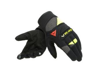 Motorradhandschuhe Dainese VR46 Curb Short Gloves schwarz anthrazit gelb