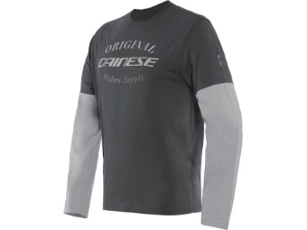 Pullover Dainese Paddock Longsleeve T-Shirt Charcoal-Gray Glacier-Gray
