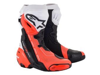 Stiefel Alpinestars Supertech R Vented Boots 2021 Black White Red Fluo
