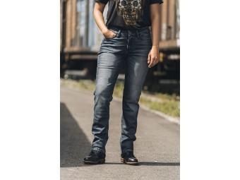 Motorradjeans Rokker Rokkєrtech Mid Waist Straight Lady Denim Jeans blau