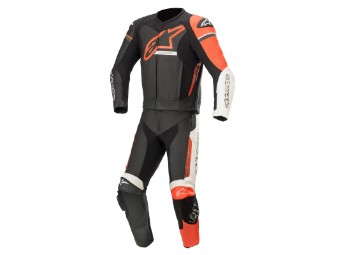 Lederkombi Alpinestars GP Force Phantom 2PC Suit Zweiteiler black white red fluo