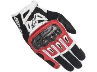 Motorradhandschuhe Alpinestars SMX 2 Air Carbon V2 Gloves schwarz/rot/weiß