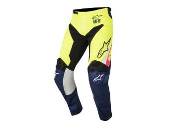 Crosshose Alpinestars Supermatic Pants 2018 white/dark blue/yellow-fluo