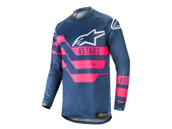 Crosshemd Alpinestars Racer Flagship Jersey 2019 dark navy/pink fluo