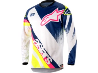 Crosshemd Alpinestars Racer Supermatic Jersey 2018 white dark blue yellow
