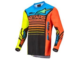 Crosshemd Alpinestars Racer Compass Jersey 2022 black yellow fluo coral