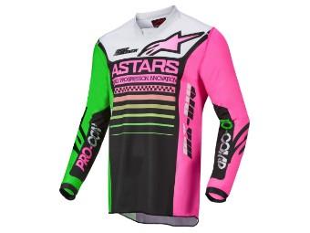 Crosshemd Alpinestars Racer Compass Jersey 2022 black green neon pink