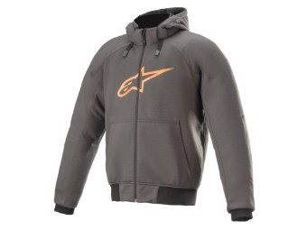 Kapuzenjacke Alpinestars Chrome Aramid Sport Hoodie tar gray orange