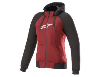 Kapuzenjacke Alpinestars Stella Chrome Sport Aramid Hoodie jasper red black white