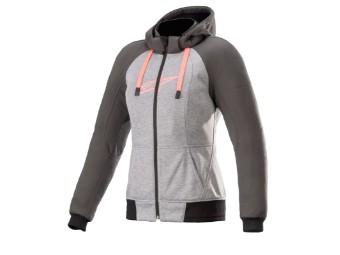 Kapuzenjacke Alpinestars Stella Chrome Sport Aramid Hoodie melange tar gray diva pink