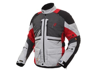 Gore Tex Motorradjacke Rukka Offlane steelgrey red