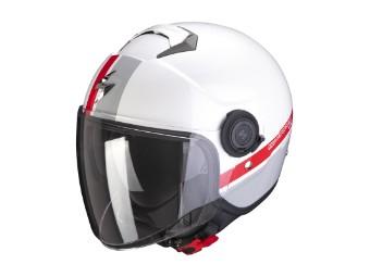 Helm Scorpion Exo City Strada weiß silber rot