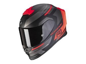 Helm Scorpion Exo R1 Air Orbis matt schwarz neon rot
