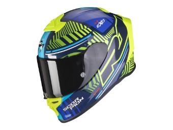 Helm Scorpion Exo R1 Air Victory Blau Neongelb
