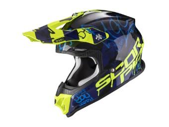 Crosshelm Scorpion VX 16 Air Oratio blau neongelb MX Motocross
