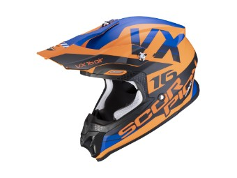 Crosshelm Scorpion VX 16 Air X-Turn matt orange blau MX Motocross