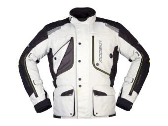 Motorradjacke Modeka Aeris hellgrau schwarz