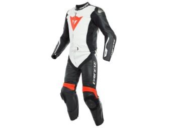 zweiteiler Lederkombi Dainese Avro D-Air Airbag Suit schwarz weiß rot fluo