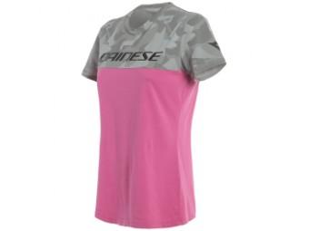 T-Shirt Dainese Camo Tracks Lady Fuchsia Pink Grau