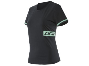 T-Shirt Dainese Paddock Lady Black Acqua Green