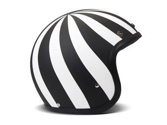 Vintage Lollipop schwarz weiß matt Open Face Helm Jethelm Motorradhelm
