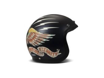 Vintage Eagle Open Face Helm Jethelm Motorradhelm schwarz matt