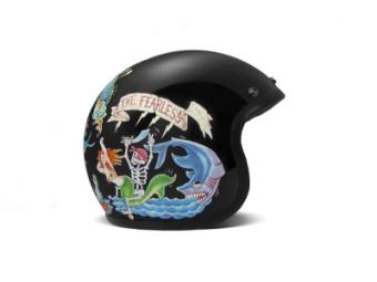 Vintage Fate Open Face Helm Jethelm Motorradhelm schwarz