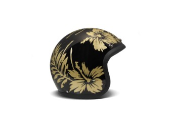 Vintage Flower Open Face Helm Jethelm Motorradhelm schwarz