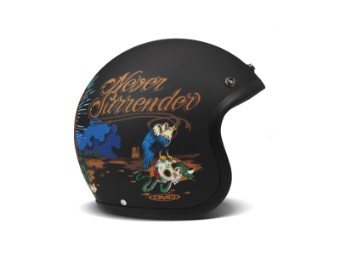Vintage Luz Open Face Helm Jethelm Motorradhelm schwarz matt