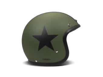 Vintage Star Green Matt grün schwarz Open Face Helm Jethelm Motorradhelm