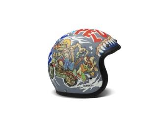 Vintage Wolf Open Face Helm Jethelm Motorradhelm mehrfarbig matt