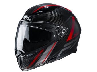 Motorradhelm HJC F70 Carbon Eston MC1 schwarz rot