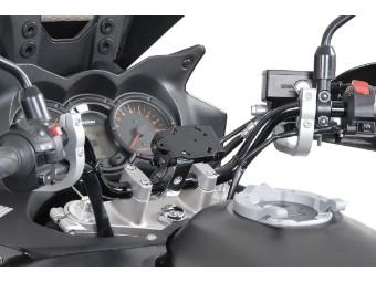 SW MOTECH Navihalterung Lenkerklemme für 22mm Lenker Vibrationsgedämpft silber