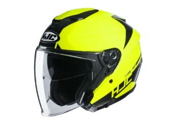 i30 Baras MC4H Jethelm mit Visier Motorradhelm schwarz neongelb