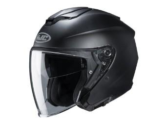 i30 Semi Matt Black Jethelm mit Visier Motorradhelm schwarz matt