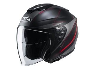 i30 Slight MC1SF Jethelm mit Visier Motorradhelm schwarz rot matt