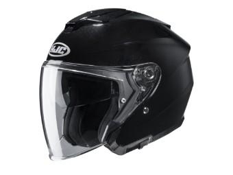 i30 Solid Metal Black Jethelm mit Visier Motorradhelm schwarz glanz