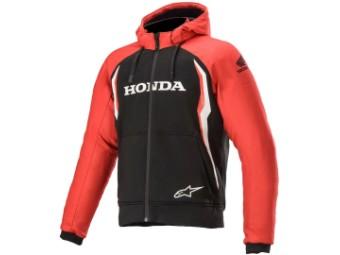 Kapuzenjacke Alpinestars Honda Chrome Aramid Sport Hoodie schwarz rot